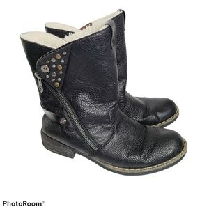 Rieker Size 39 Black Leather Moto Boots Wool Peggy